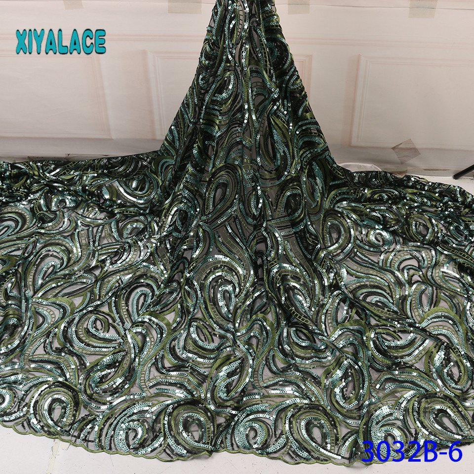 Latest  African Lace Fabric Green Sequins For Wedding Dress Nigerian Lace Voile Lace In Switzerland With Sequins YA3032B-6