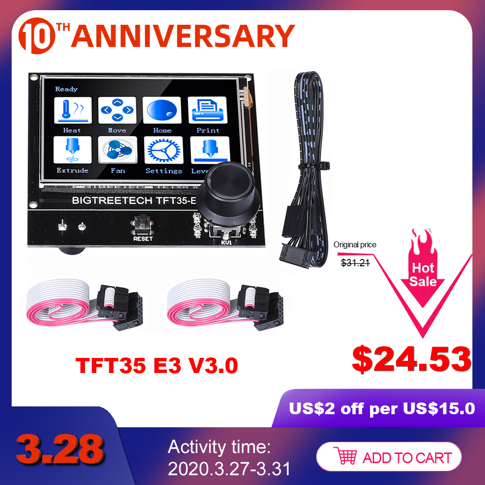 BIGTREETECH TFT35 E3 V3.0 сенсорный экран совместимый 12864LCD дисплей Wifi TFT35 3d принтер части для Ender3 CR-10 SKR V1.3 MINI E3 title=