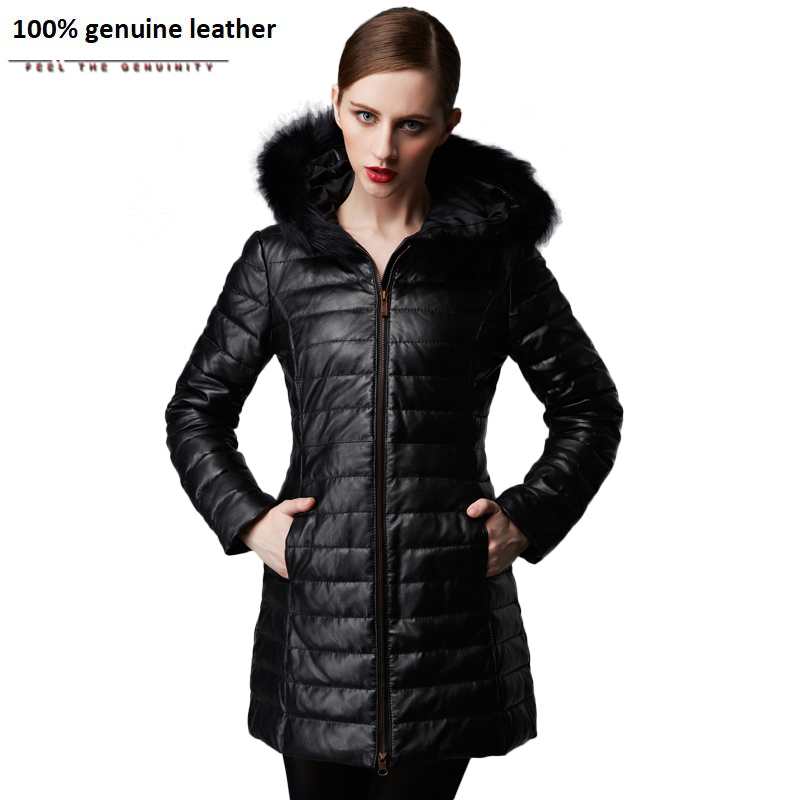 Women's Leather Coat Winter Long Parkas 100% Sheepskin Natural Fur Hood Black Red Women Long Coat Winter Overcoat 175