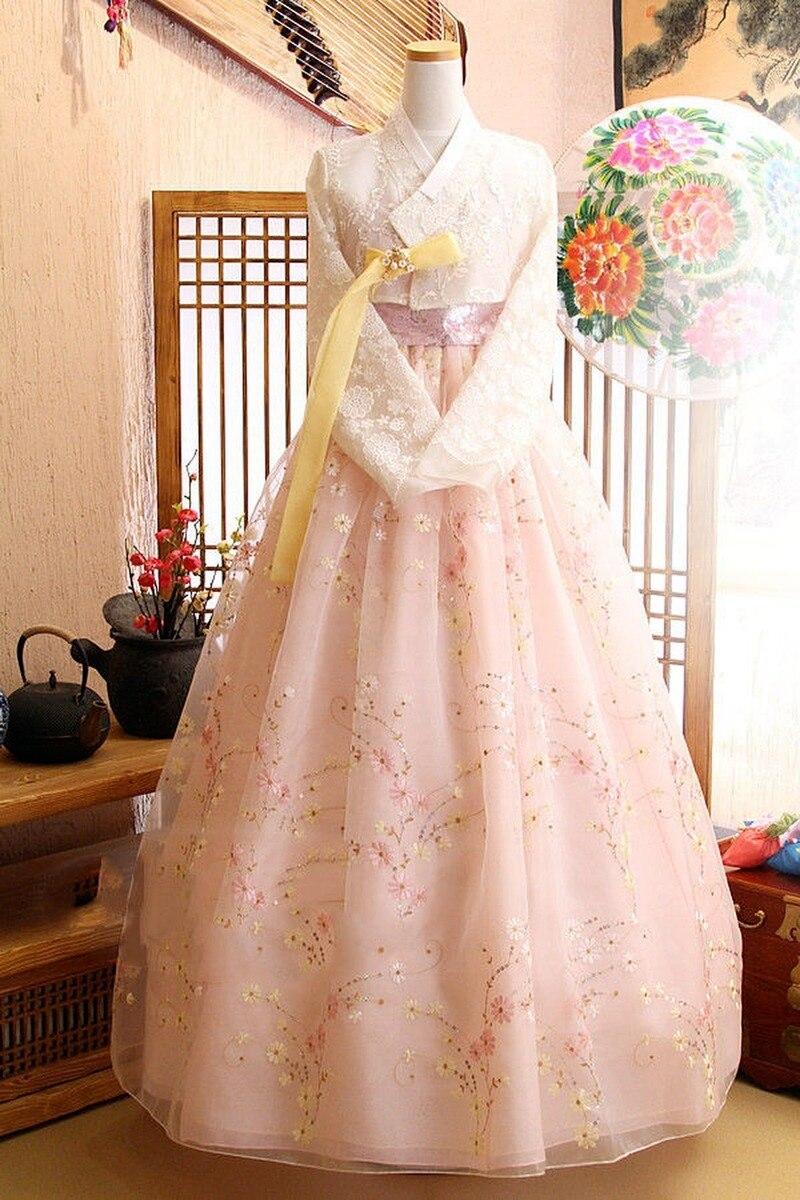 Girls Popular Women Hanbok Dress Korean Traditioanl Bride Wedding Fushion Lace Skirt Clothing Gfit Top Selling Product In 2019