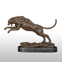 Bronze Statue Leopard Sculpture Lost Wax Method Copper Panther Figurine High end Business Gifts Vintage Art for Man Office Decor