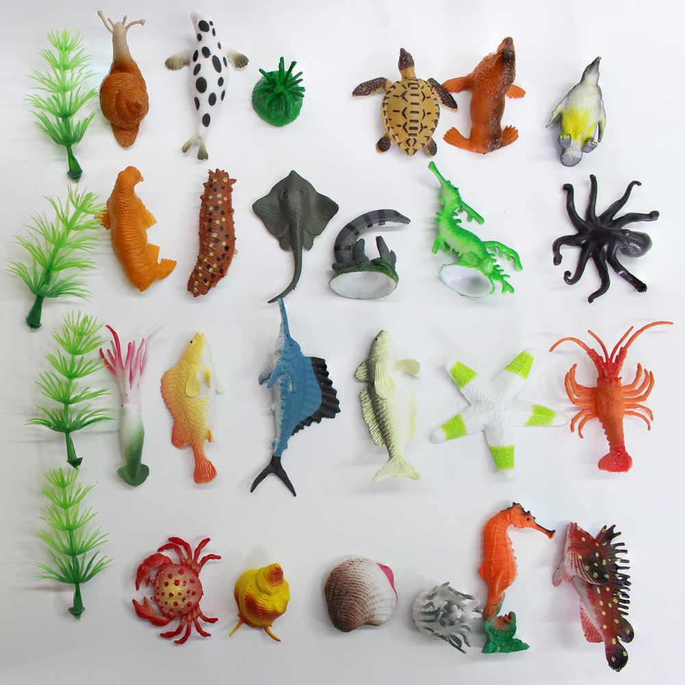 Vários animais Sea Life Modelo organismo Marinho Golfinho pinguim Polvo Caranguejo Eremita tartaruga peixe Tubarão Boneca Brinquedos Presente Para As Crianças