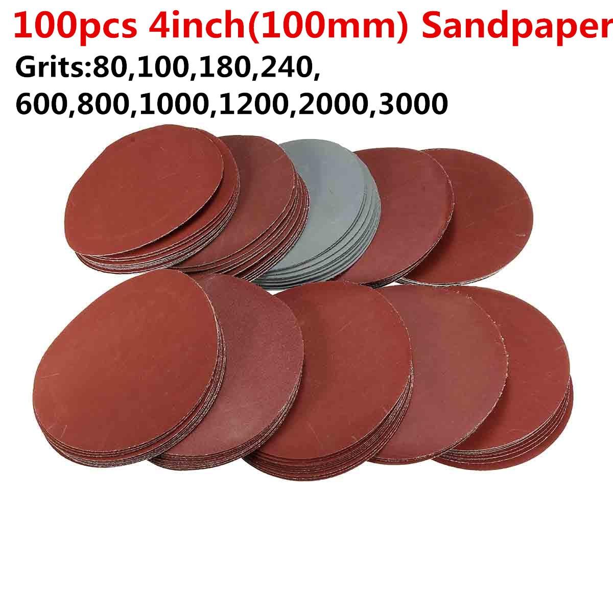 100Pcs 4inch Sander Disc 80/100/180/240/600/800/1000/1200/2000/3000 Grit Sandpaper Sheet Hook Loop Sanding Disc For Polish