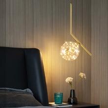 Nordic Glass Ball Led Small Pendant Lamp Golden Copper Gypsophila Hanging Chandelier Decor for Bedroom Bedside Dining Room