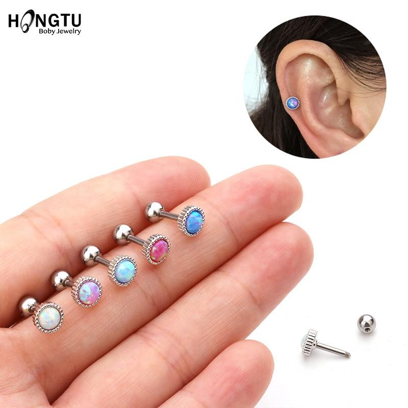 1PC 5mm Top Opal Ear Cartilage Tragus Helix Stud Earring Piercing Body Jewelry 16G Stainless Steel Studs Women Accessories 2020
