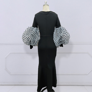 Black Maxi Party Dress Long Puff Sleeves Polka Dot Hollow Out Sexy Event Occasion Women Elegant Celebrate Evening Night Robes 5