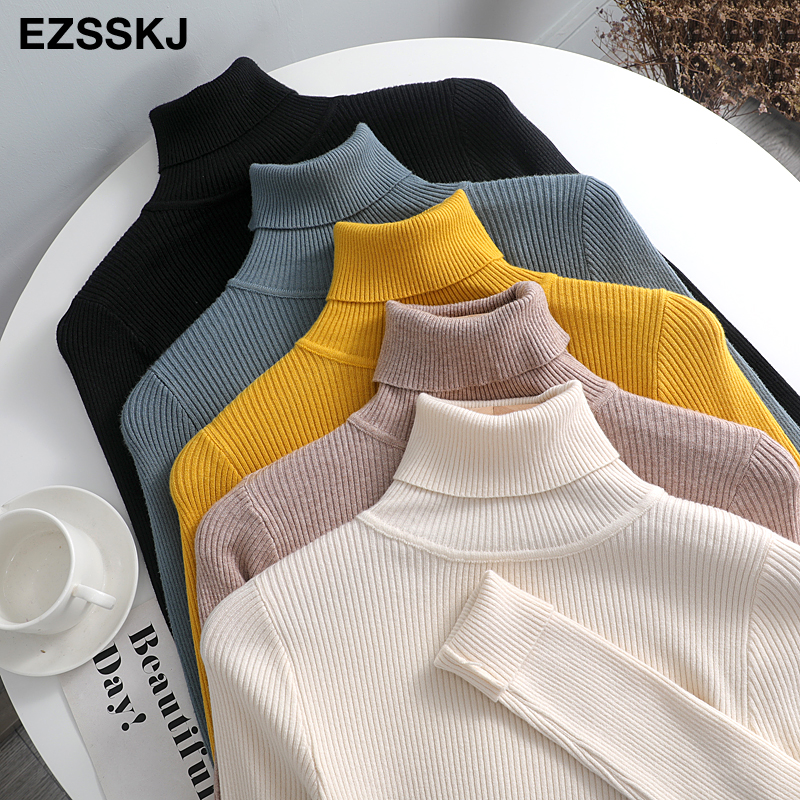 2021 Knitted Women turtleneck Sweater Pullovers spring Autumn Basic Women high neck Sweaters Pullover Slim female cheap top