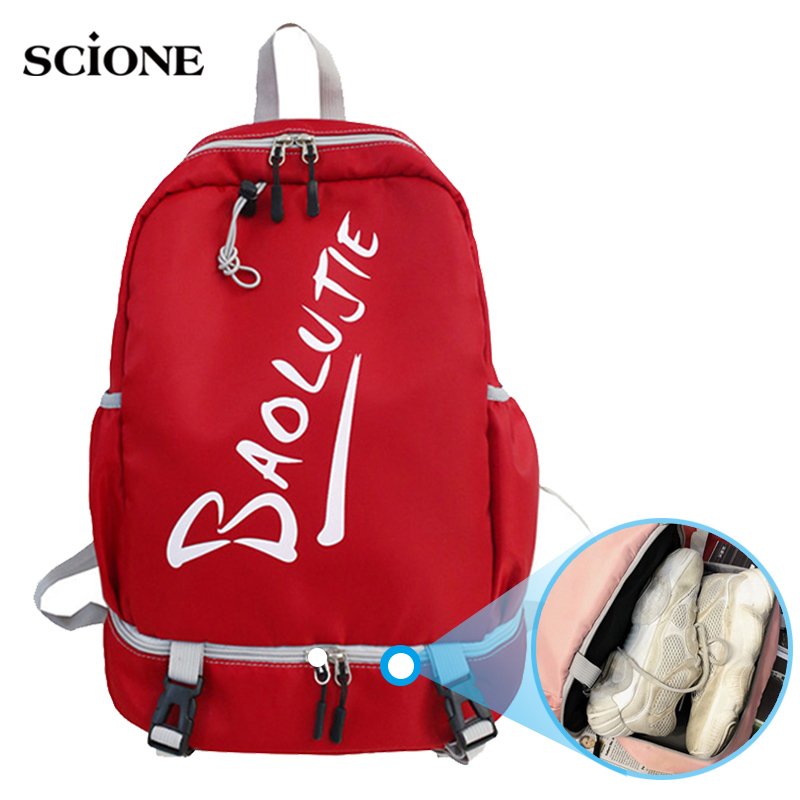 Red Gym Backpack Student Fitness Bag For Women Travel Rucksack Shoes Storage Gymtas Sac De Sport Mochila Sportbag 2019 XA894WA