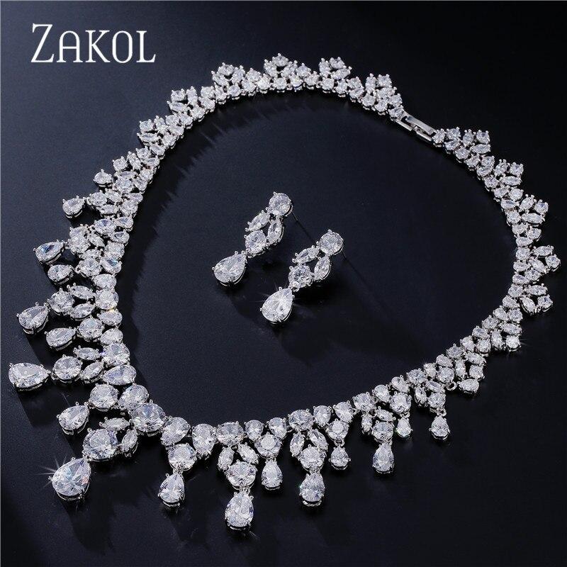 ZAKOL luxe magnifique Design éblouissant goutte d'eau cubique zircone ensemble de bijoux pour les femmes mariée mariage dîner robe FSSP034