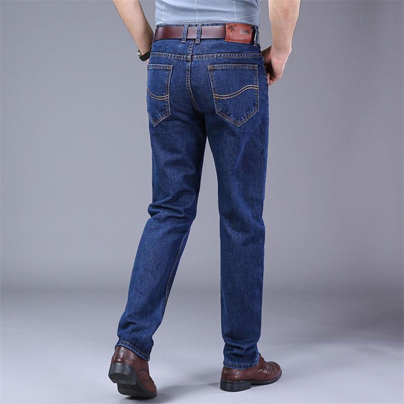 2019 Autumn Jeans Men Casual Business Cotton Force Denim Trousers Slim Fit Jeans Spring Straight Denim Pants Male Thin Men Jeans 2
