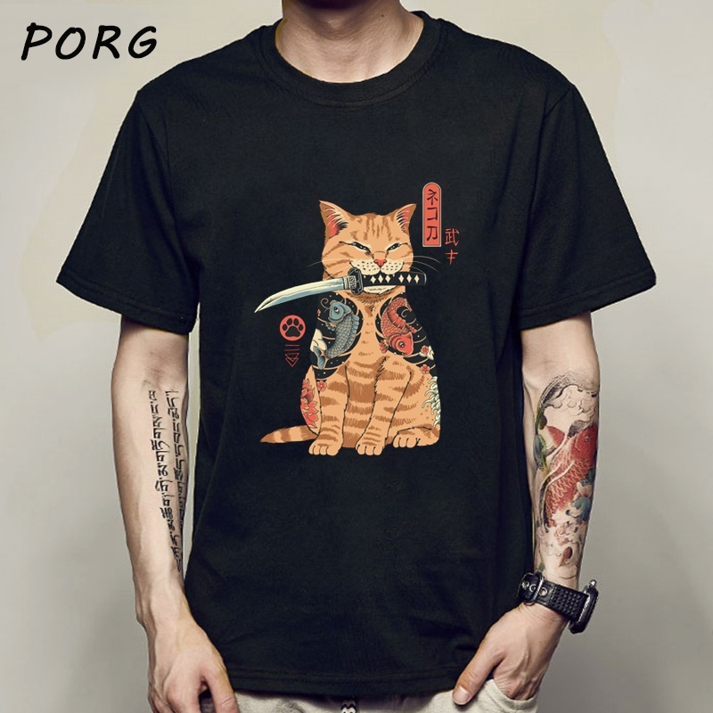 Men Catana Cool Summer Loose Men/Women T Shirt Casual Short Sleeve Cat Print Anime Tshirt Japanese Summer T-Shirt Tops Tee Shirt