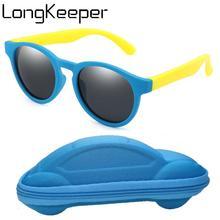 Fashion Flexible Kids Sunglasses With Case Boys Girls Polarized Sun Glasses Baby TR90 Silicone Mirror Eyeware UV400 Shades