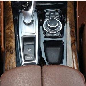 Image 2 - คอนโซลกลางสีดำเกียร์SHIFT PANELตกแต่งฝาครอบTrimสำหรับBMW X5 E70 X6 E71 2008 2014 LHDสแตนเลสรถเหล็กจัดแต่งทรงผม