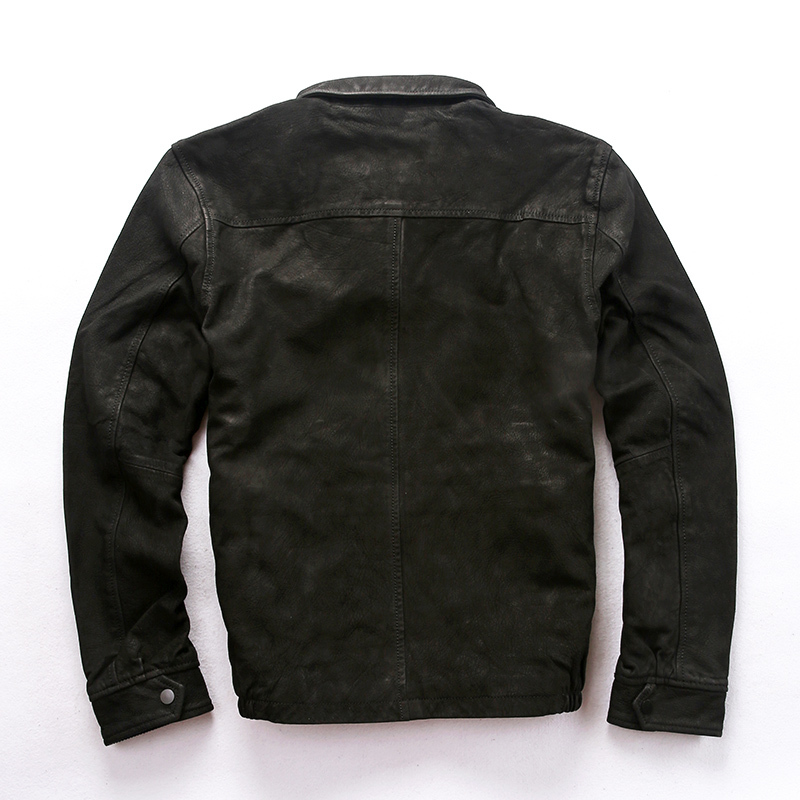 2020 Men's Scrub Sheepskin Real Vintage Do Old Casual Leather Coat Men Autumn Black Goat Skin Flight Jacket Male