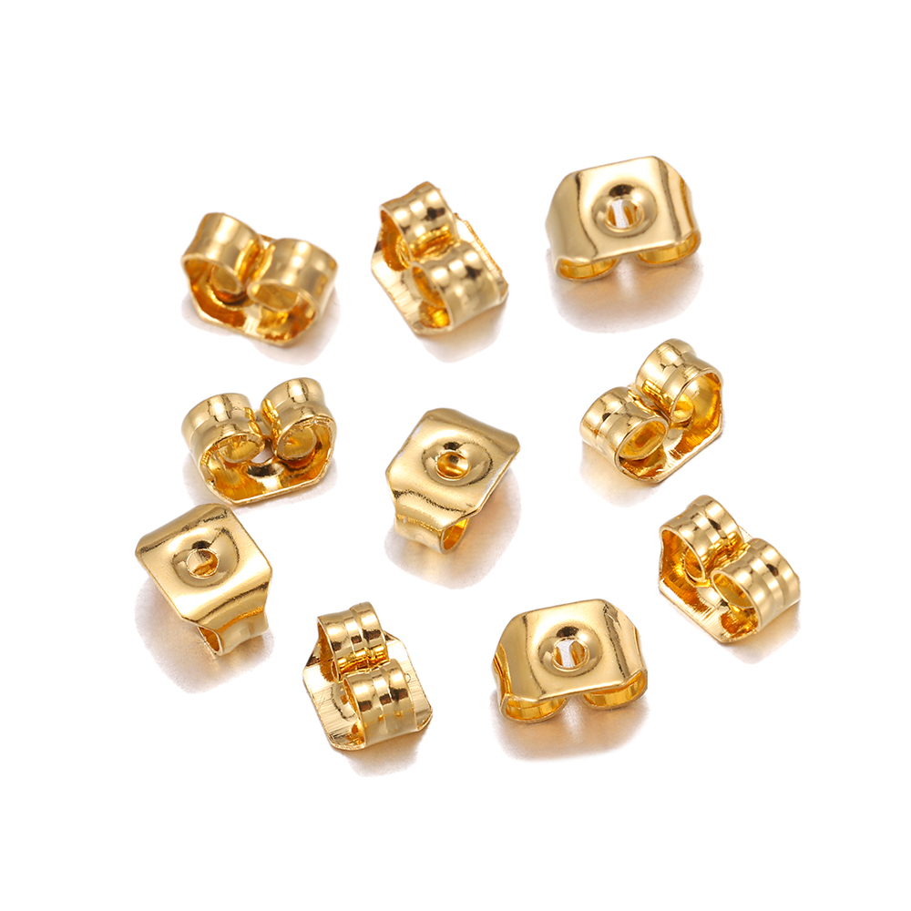 50pcs/lot 5mm Gold Stainless Steel Ear Studs Back Earring Stopper Earrings Back Plug Settings For DIY Jewelry Making
