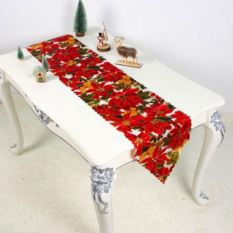 Christmas Table Runner Printing Christmas Decoration Washable Covers Dining Room Polyester