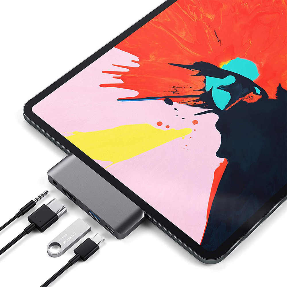Usb C HUB Adapter dengan USB-C TYPE C PD Pengisian 4K HDMI USB 3.0 3.5 Mm Headphone untuk iPad pro 2018 For MacBook Pro Memperpanjang Dock