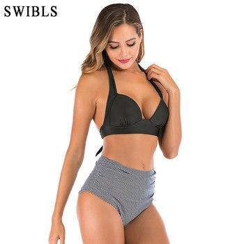 2020 Woman Plus Size Swimwear High Waist S-3XL Bikini Big Women Bathing Suits Floral Vintage Female Sexy Bather Swimsuits