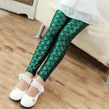 Girls Pants Leggings Mermaid-Scale Children Clothes Printing Autumn Summer Full Skinny