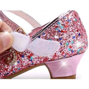 Image 5 - Księżniczka dzieci skórzane buty dla dziewczynek kwiat dorywczo brokat dzieci szpilki dziewczęce buty motylkowy węzeł niebieski różowy srebrny