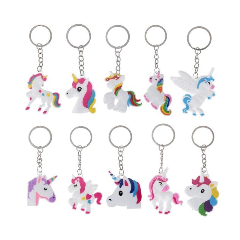Fashion DIY Cute Fairytale PVC Unicorn Keychain Multi-style Horse Key Rings Holder Alloy Key Chain For Woman Girls Gift Jewelry