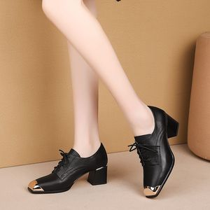 Image 3 - ALLBITEFO natural genuine leather high heel shoes comfortable women heels spring autumn high heels Frenulum office ladies shoes
