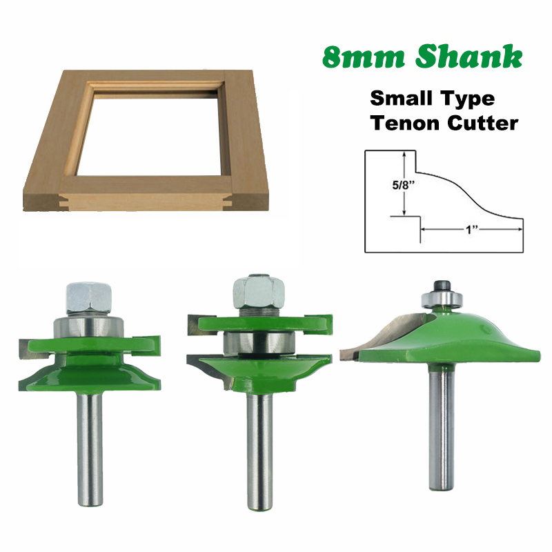 3pcs 8mm Shank Mirror Type Tenon Router Bit 45# Steel Cabinet Door Panel Cutter Woodworking Milling Tool