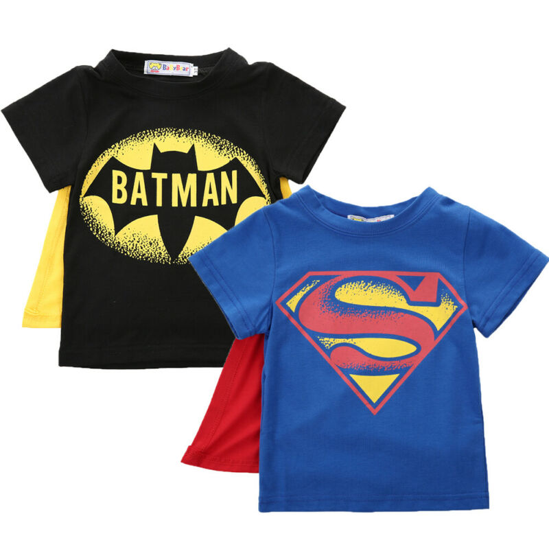 Kids Boys T-shirt Tops With Cape Superman Batman Children Summer Short Sleeve Tops Baby Boys Clothes Custume