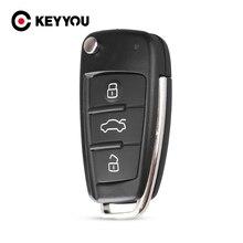 KEYYOU 10X Repalcement Folding Car Key Shell 3 Buttons For Audi TT Q3 A8 A6 c5 c6 A4 b6 b7 A3 HU66 Uncut Blank Auto Case