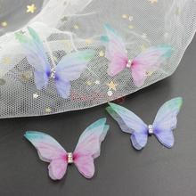 20 sztuk 45mm podwójne-warstwa różowy niebieski kolor Organza aplikacja z motylem plastry wykonane ręcznie wyszywane koralikami szyfonowa motyle DIY do włosów biżuteria tanie tanio Tiny Dość CN (pochodzenie) Approx 45x30 mm HANDMADE Przyjazne dla środowiska Naszywka FZ0668