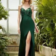 Evening-Dress Spaghetti-Strap Angel-Fashions Satin Backless Long Green Slit Embroidery