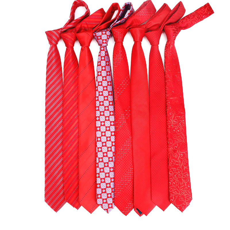 High Quality Ties For Men Fashion Jacquard Woven Classic Mans Necktie For Wedding 6cm Width Slim Groom Neck Tie Red Striped Tie