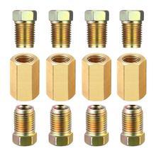 Juego de accesorios de tuberías de freno roscado, 12 unidades de tuberías de 3/16 pulgadas y 3/8 pulgadas 24, Conector de tuberías de latón ad