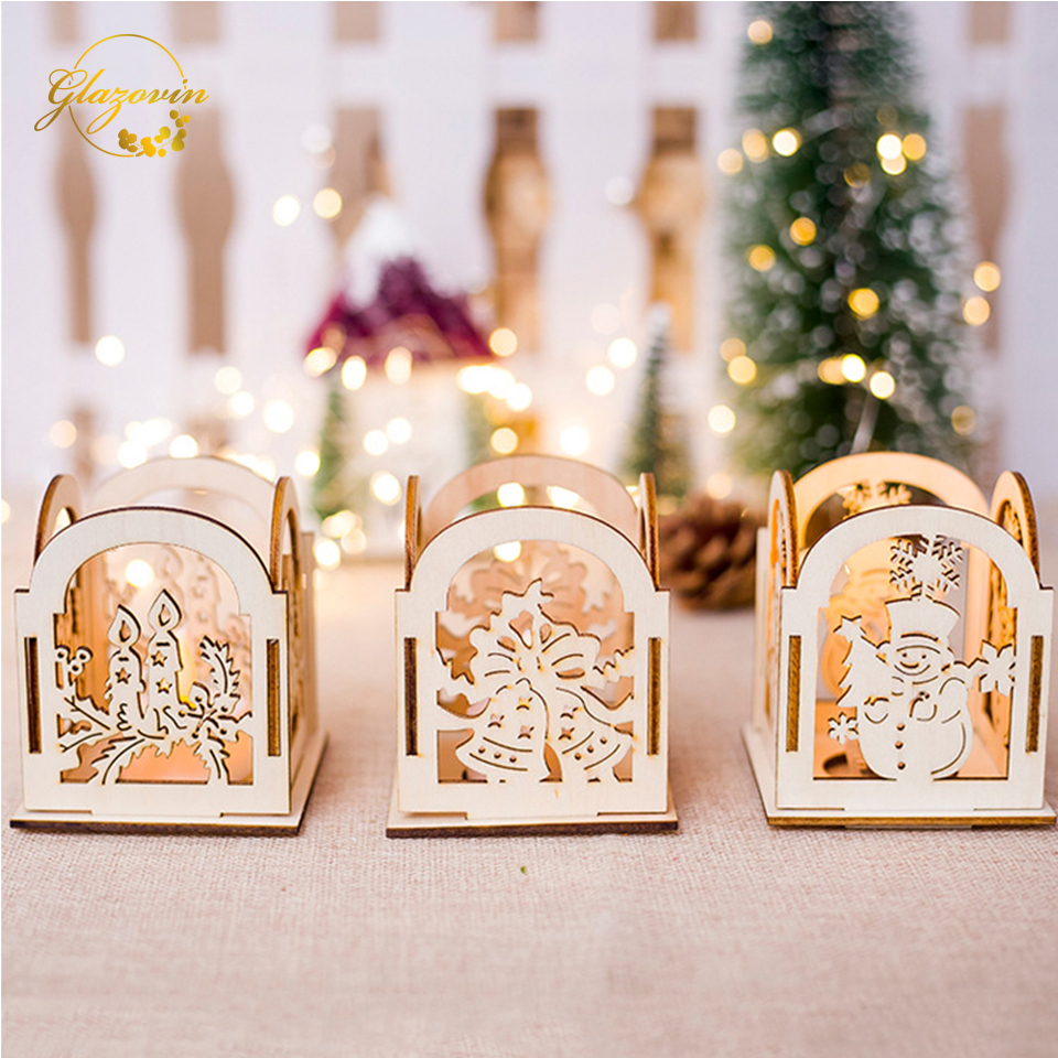 Christmas Hollow Candlestick Wooden Christmas Creative MDF Board Gifts DIY Candle Holders Wedding Home Decoration Ornaments