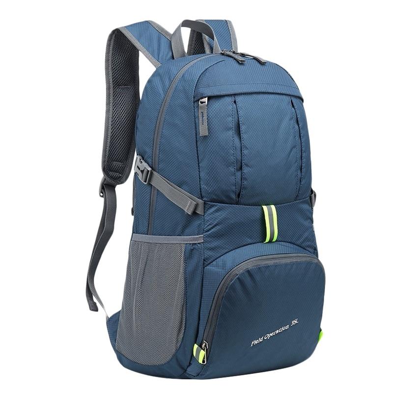 Foldable Waterproof Backpack 35L Lightweight Portable Rucksack Outdoor Large Nylon Pack Trekking Bag For Camping Traveling Hikin
