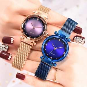 Women Watch Glass Magnetic-Buckle Quartz-Mesh Flat Luxurious with Ladies Dress Party-Decoration