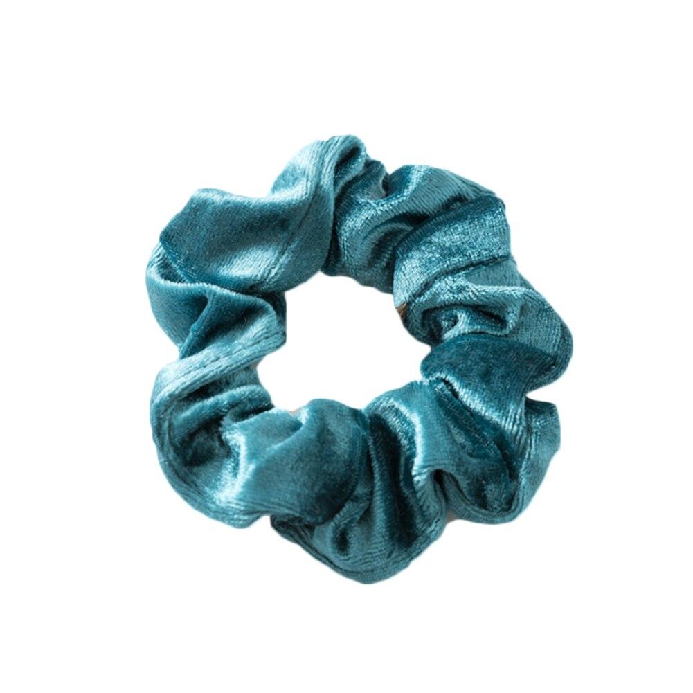 1 шт., женское эластичное кольцо для волос, зимние мягкие бархатные резинки, резинки для волос, милые одноцветные аксессуары для волос, держатель для конского хвоста - Цвет: Синий