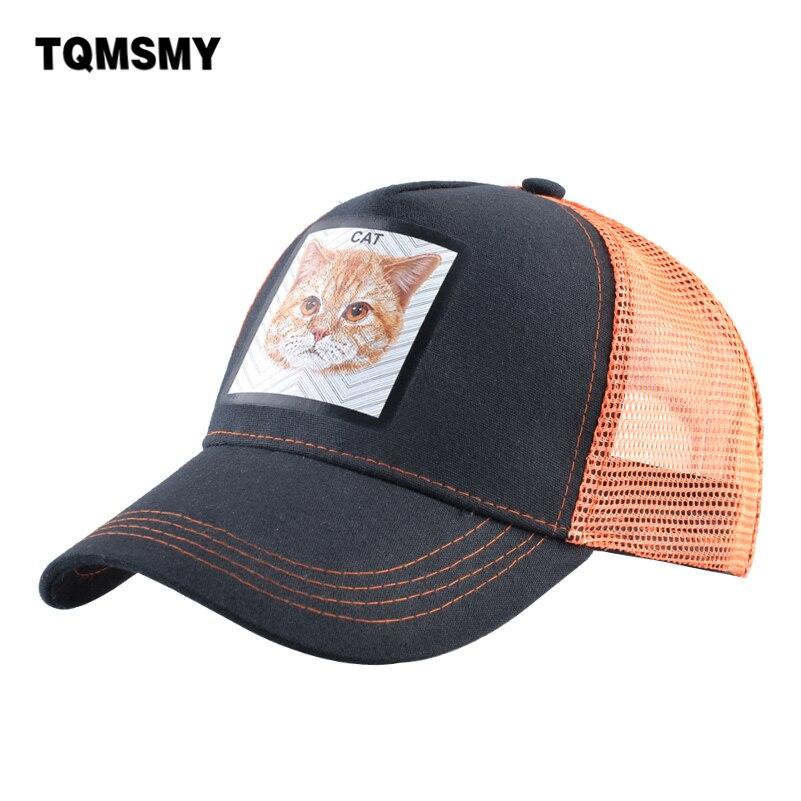 TQMSMY Fashion Trucker Caps Women Casual Visor Hat With Cat Patch Snpaback Baseball Cap Men Hip Hop Casquette Gorras  TME02