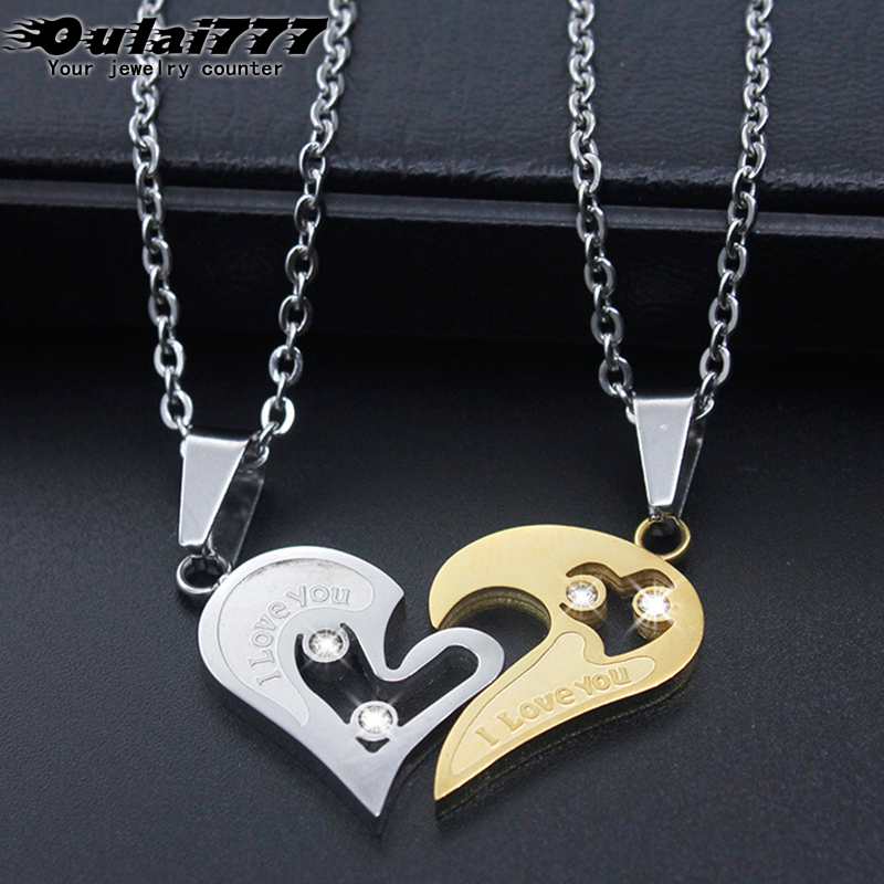 oulai777 Couple heart necklaces pendants wholesale stainless steel love chain personalized crystal Simple Accessories