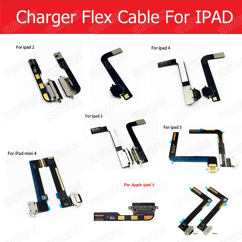Charging Port Flex Cables For Apple Ipad 2 3 4 5 6 USB Charger Connector Rear Plug Socket Dock Charging Flex Cable Parts New