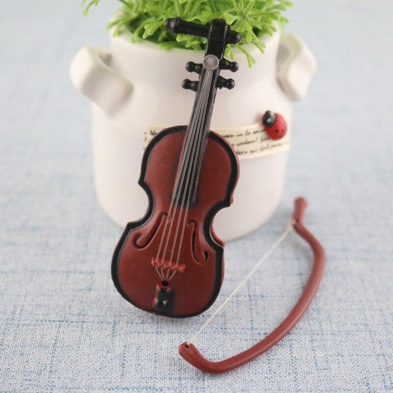 1set Creative Miniature Music Instrument Plastic Mini Violin Dollhouse Decorative Ornaments Plastic Crafts DIY Home Decoration