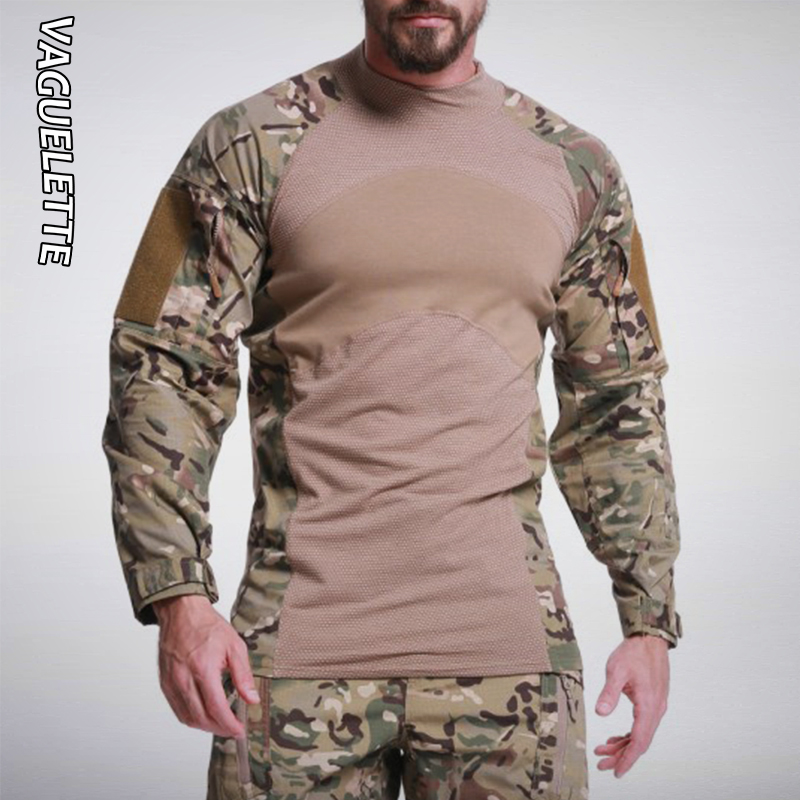 Vaguelette Multicam Army Military TShirt Men With Pockets Camouflage Hunting Tactical T Shirt Long Sleeve Tops