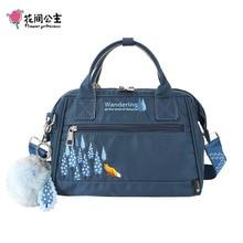 Flower Princess 2019 New Fox Fur Ornaments Women Bag Embroidery Nylon Shoulder Bag School Bags For Girls Travel Ladies Handbags