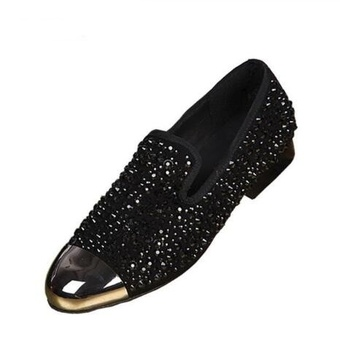 Mens Dress Shoes Gold Metal Toe Red Black Crystal Mens Shoes Formal High Quality Flat Mens Wedding Shoes Size 36-46