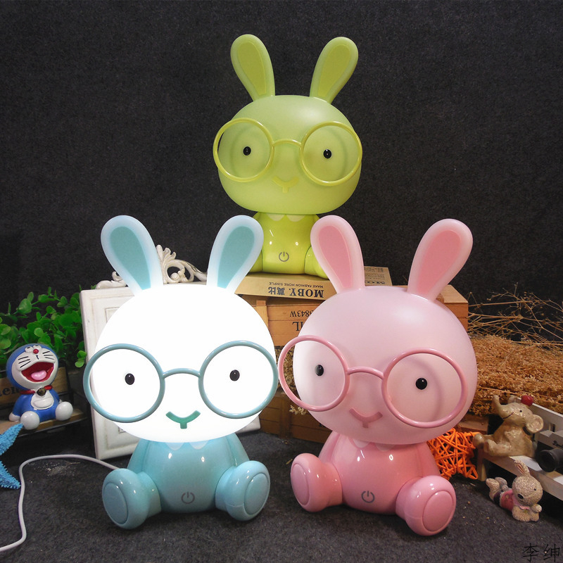 Modern Cartoon Night Light Children Baby Kids Room Glasses Rabbit Led USB Night Lamp Christmas Gift Touch Switch Decor Luminaire