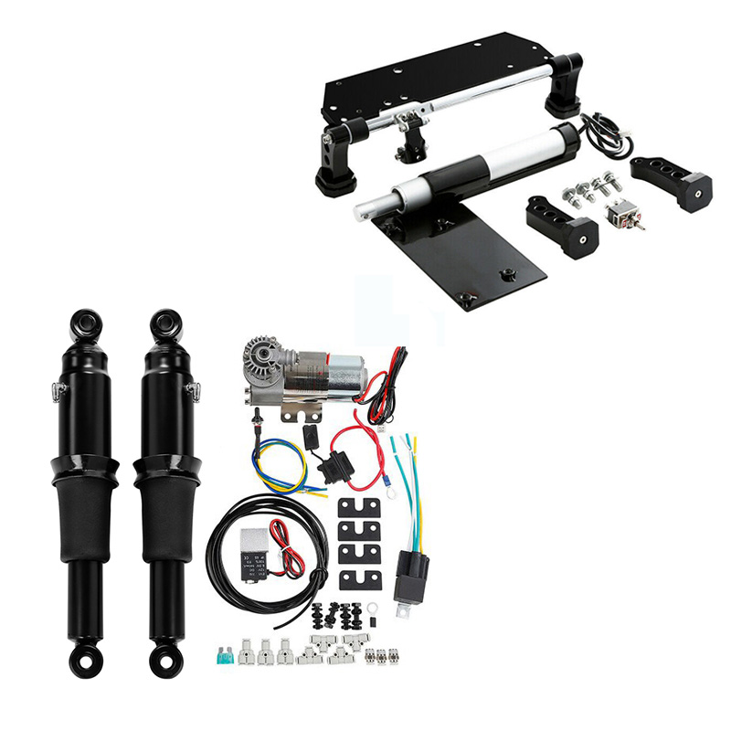 Motorcycle Rear Air Ride Suspension Kit Electric Center Stand For Harley Touring Road King Road Glide 2009-2016 2017-2020