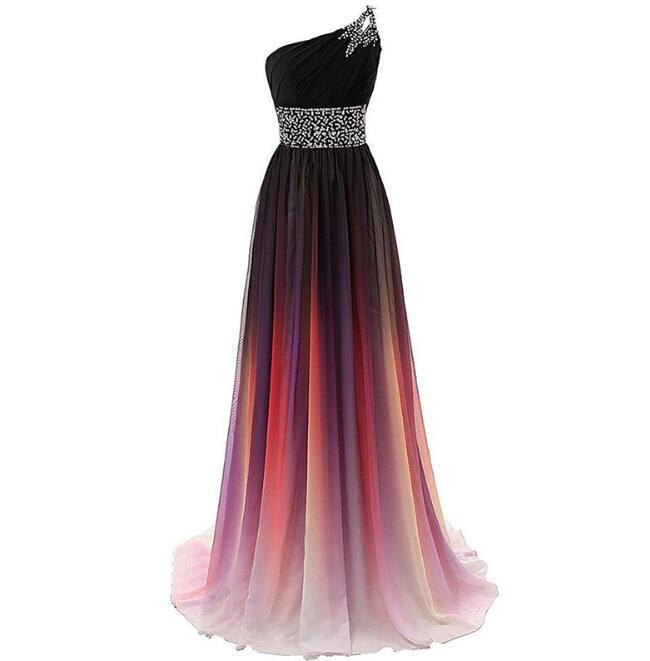 One Shoulder Slim Dresses Gradient Prom Gown Cheap Stock Long Banquet Evening Skirts US Size 4 to 22
