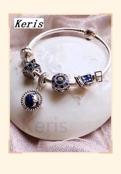 High Quality 1:1 100% Silver Blue Star Star Design Bracelet With Free Delivery Preferred Gift