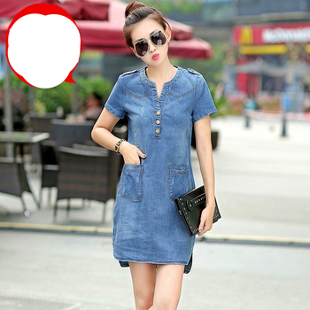 Plus Size 5XL Summer Style Denim Dresses Women V-Neck Short Sleeve Slim Jeans Dress With Pockets Vestidos Women Clothing image