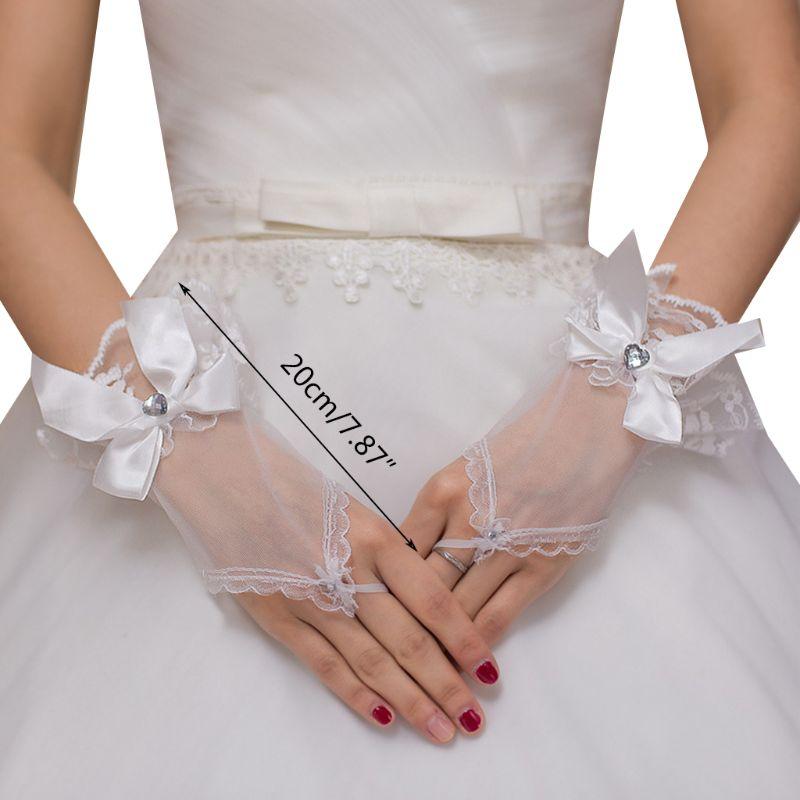 Wedding Short Fingerless Gloves Bowknot Heart Rhinestone Ruffles Lace Mittens U90E